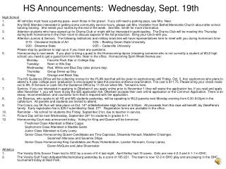 HS Announcements:  Wednesday, Sept. 19th
