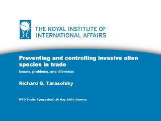 Preventing and controlling invasive alien species in trade