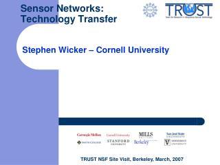 Sensor Networks: Technology Transfer