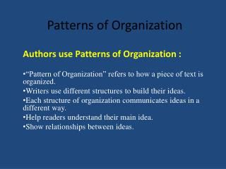 Patterns of Organization