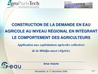 CONSTRUCTION DE LA DEMANDE EN EAU AGRICOLE AU NIVEAU R GIONAL EN INT GRANT LE COMPORTEMENT DES AGRICULTEURS  Application