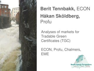 Analyses of markets for Tradable Green Certificates TGC  ECON, Profu, Chalmers, EME