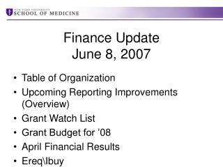 Finance Update  June 8, 2007