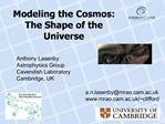 Modeling the Cosmos: The Shape of the Universe