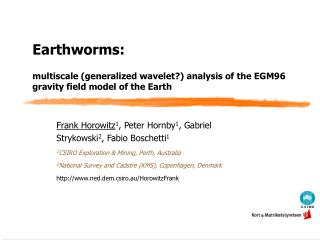 Earthworms:    multiscale generalized wavelet analysis of the EGM96 gravity field model of the Earth