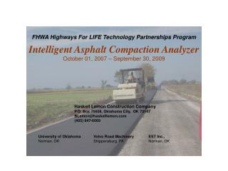 FHWA Highways For LIFE Technology Partnerships Program  Intelligent Asphalt Compaction Analyzer  October 01, 2007   Sept