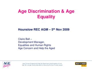 Age Discrimination  Age Equality