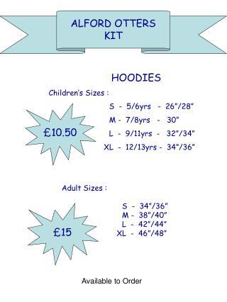 HOODIES  Children s Sizes :   S  -  5