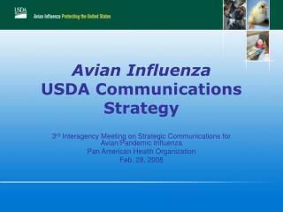 Avian Influenza USDA Communications Strategy