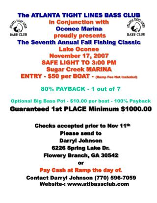 The ATLANTA TIGHT LINES BASS CLUB in Conjunction with  Oconee Marina    proudly presents  The Seventh Annual Fall Fishin