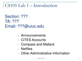 CS105 Lab 1   Introduction  Section:   TA:  Email: uiuc