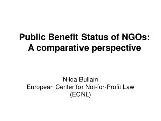 Public Benefit Status of NGOs:  A comparative perspective