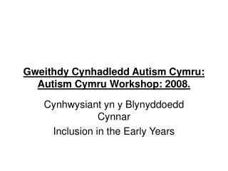 Gweithdy Cynhadledd Autism Cymru: Autism Cymru Workshop: 2008.