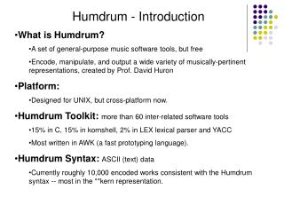 Humdrum - Introduction