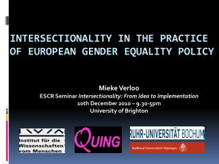 Intersectionality in the practice of European gender equality policy