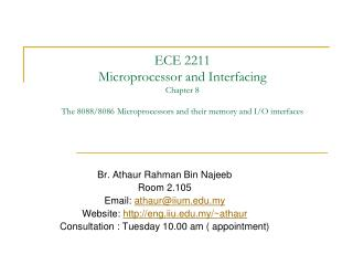 ECE 2211  Microprocessor and Interfacing Chapter 8  The 8088