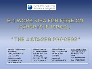 B-1 Work Visa for Foreign Experts in Israel:    THE 4 STAGES Process