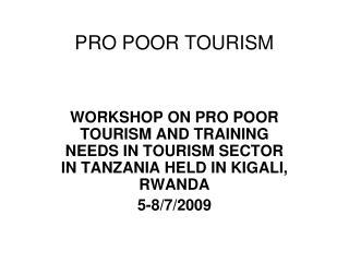 PRO POOR TOURISM