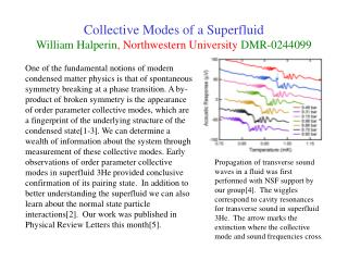 Collective Modes of a Superfluid William Halperin, Northwestern University DMR-0244099