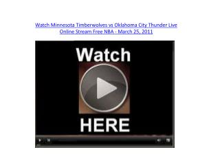 Watch Minnesota Timberwolves vs Oklahoma City Thunder Live O