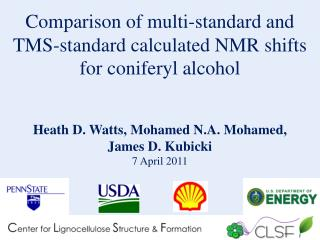 Comparison of multi-standard and TMS-standard calculated NMR shifts for coniferyl alcohol