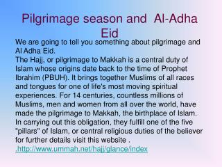Pilgrimage season and  Al-Adha Eid
