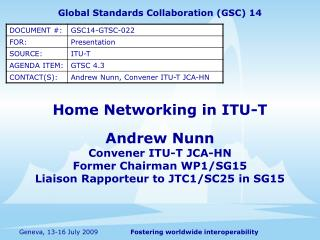Home Networking in ITU-T
