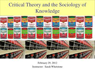 Critical Theory and the Sociology of Knowledge