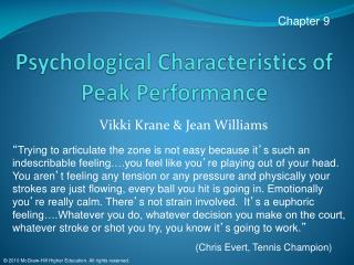 Psychological Characteristics of Peak Performance