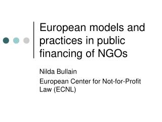 European models and practices in public financing of NGOs