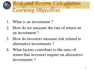Risk and Return Calculation  Learning Objectives