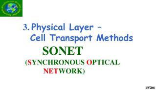 3. Physical Layer             Cell Transport Methods SONET            SYNCHRONOUS OPTICAL  NETWORK