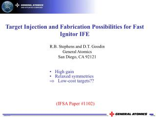Target Injection and Fabrication Possibilities for Fast Ignitor IFE