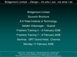 Bridgemont Limited Souvenir Brochure A D Patel Institute of Technology, Vallabh Vidyanagar ,  Gujarat Freshers Training