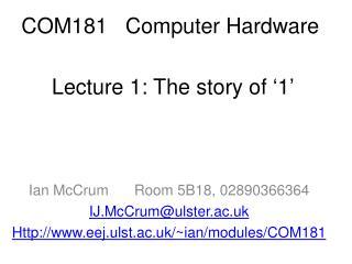 COM181   Computer Hardware