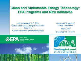 Clean and Sustainable Energy Technology: EPA Programs and New Initiatives