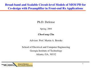 Broad-band and Scalable Circuit-level Models of MSM PD for Co-design with Preamplifier in Front-end Rx Applications