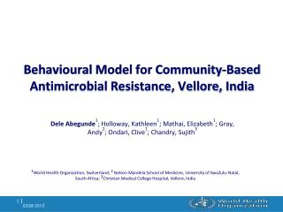 Behavioural Model for Community-Based Antimicrobial Resistance, Vellore, India