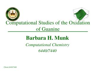 Computational Studies of the Oxidation of Guanine