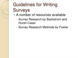 Guidelines for Writing Surveys