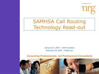SAMHSA Call Routing Technology Read-out