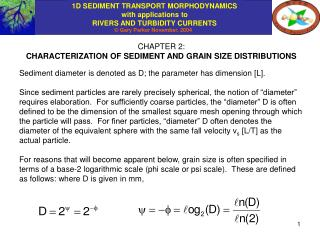 CHAPTER 2: CHARACTERIZATION OF SEDIMENT AND GRAIN SIZE DISTRIBUTIONS