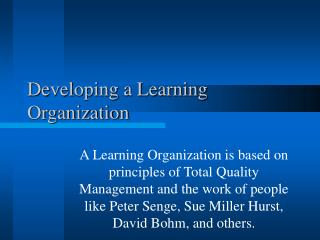 Developing a Learning Organization