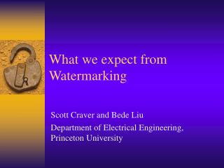 What we expect from Watermarking