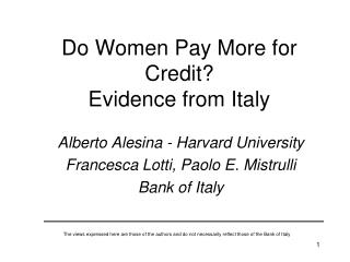 Do Women Pay More for Credit Evidence from Italy