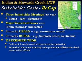 Indian  Howards Creek LWP Stakeholder Goals - ReCap