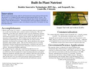Built-In Plant Nutrient  Boulder Innovative Technologies BIT Inc.,  and ZeoponiX, Inc. Louisville, Colorado