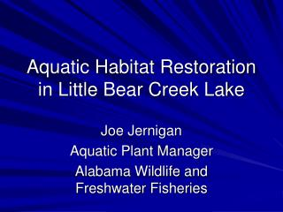 Aquatic Habitat Restoration in Little Bear Creek Lake