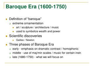 Baroque Era 1600-1750
