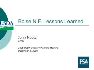 Boise N.F. Lessons Learned